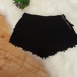 Zara Basic Black Lace Crochet Shorts Size XS